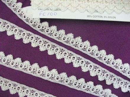 Exclusive Cluny Lace Co FC100 Champagne/Ecru Cotton Nottingham Valenciennes Lace